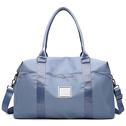 Weekend Bag for Women Overnight Bag,Travel Lightweight Waterproof Foldable Carry Luggage Duffle Tote Bag (Blue)