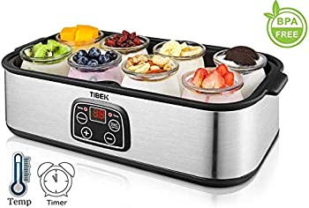 TIBEK Yogurt Maker LCD Display Yogurt Maker Machine with 8 Glass Jars