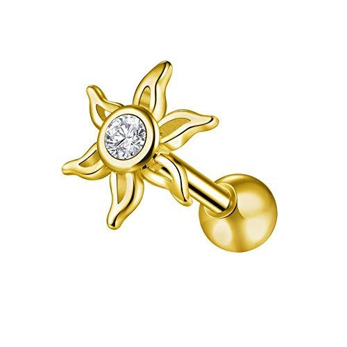 Gold eloxiert CZ Stone Tribal Sun 16 Gauge Chirurgenstahl Knorpel Helix Tragus Ohr Piercing Schmuck
