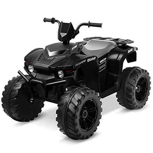 Kidzone 12V Electric Kids Ride-On Car ATV with DIY License Plate, 4 Big Wear Resistant Tires, MP3, 2 Speeds, LED Lights, Bluetooth, Radio, Black
