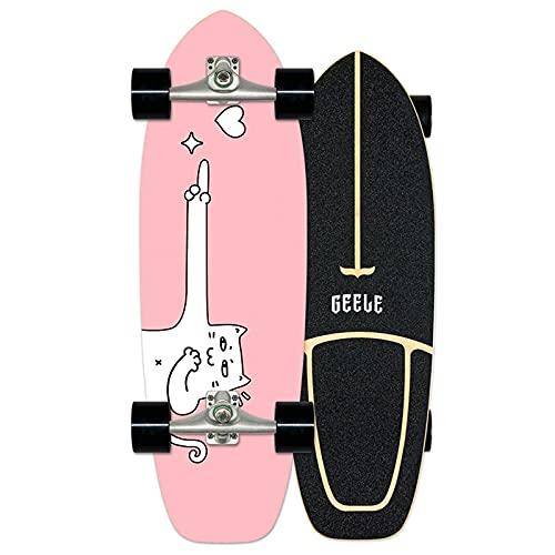 WRISCG Cruiser Boards Carver Skateboard Arce Tabla Completa 78×24cm, Tablero de Arce de 7 Capas, Rodamientos de Bolas ABEC Alta velicidad, para Adolescentes Principiantes Niñas Niños Adultos,VOMI,B
