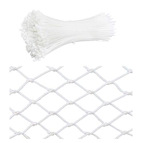 N / A White nylon rope safety net with 500 straps, children's staircase balcony fence net, interior decoration net, 5cm mesh, 6mm rope thickness(Size:1 * 7m(3 * 22ft))