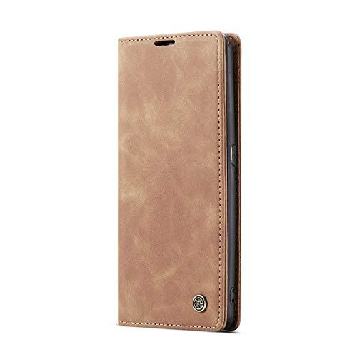 JMstore hülle kompatibel mit Samsung Galaxy A80/A90, Leder Flip Schutzhülle Brieftasche Handyhülle mit Kreditkarten Standfunktion (Braun)