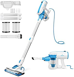 Vacuum Cleaner Corded with Motorized Brush Stick Vacuum with Swivel Steering and 2-Pack HEPA Filters MOOSOO D601
