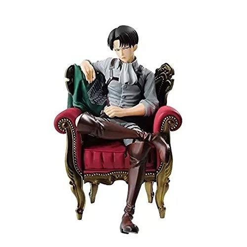 STKCST Anime Attack en Titán Sofá Sentado Postura Capitán Levi Ackerman Figura Escultura Decoración Estatua Muñeca Modelo Modelo Figura 12 cm Altura