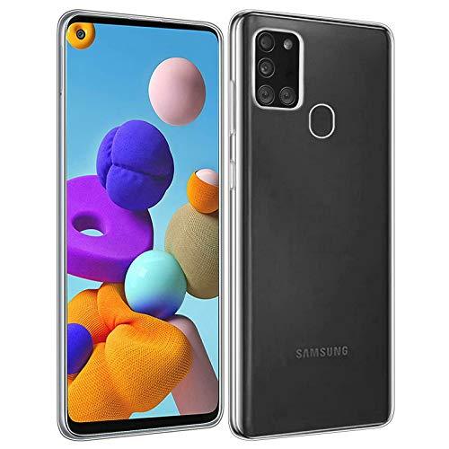 IOMOY Hülle Kompatibel Samsung Galaxy A21S, Crystal Transparent Ultra Dünn [Anti-Vergilbung] PC Rückschale Schutzhülle, Fallschutz rutschfest Stylische Handyhülle für Samsung A21S