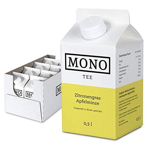 Mono Tee - Zuckerfreier Bio-Eistee Zitronengras Apfelminze - Ungesüßter und erfrischender Durstlöscher - Die Alternative zu Wasser im 8er Pack (8x 500ml)
