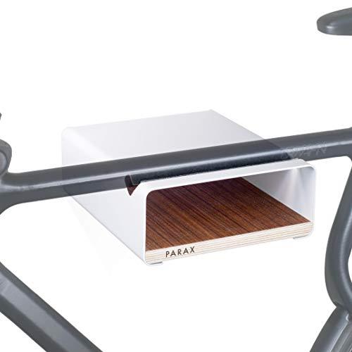 PARAX Fahrrad-Wandhalterung/Wandhalter Fahrrad/Made in Germany - S-RACK in WEISS passend für Rennrad Hardtail Cityrad Tourenrad - verschiedene Regalböden