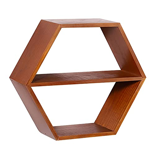 Kronleuchter Estantes flotantes de Pared Hexagonal marrón Vintage estantes Decorativos de Pared con Barra Media