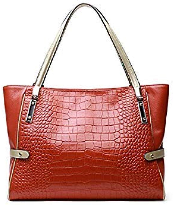Bloomerang Women Handbag Crocodile Embossing Genuine Leather Casual Tote Sac Shoulder Bag Large Capacity Crossbody Shopper Bag color orange