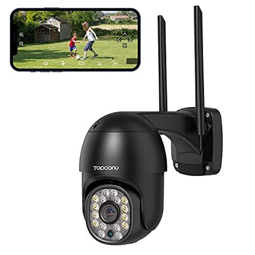 Camara Vigilancia WiFi Exterior, Topcony 1080P PTZ Camara de Seguridad IP con Visión Nocturna en Color de 30M, Detección de Movimiento, Audio de 2 Viasl, Adecuado para Garaje, Jardín y Granja