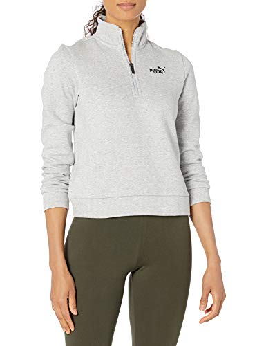 PUMA Damen ESS+ Half-Zip Crew Fleece Pullover, Grau-Light Gray Heather, Medium