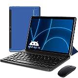 Tablette Tactile 10 Pouces Android 10 Tablette Clavier, 4 Go RAM 64 Go ROM/128 Go, Certifié par Google GMS, 5G WiFi Tablet PC, Double Caméra, 6000 mAh, Type-C, Bluetooth, Netfilx