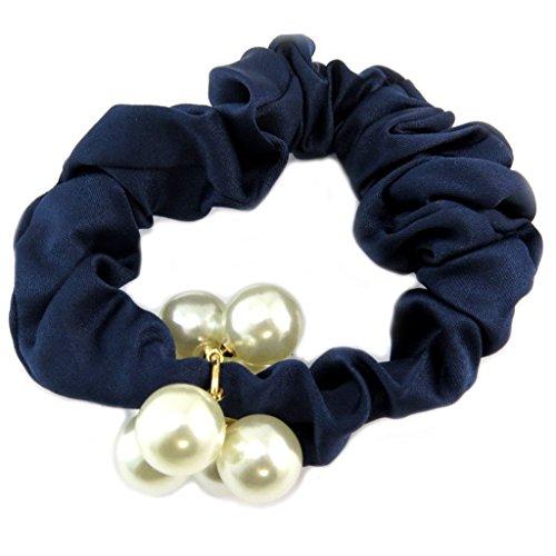Les Trésors De Lily [P6098] - Chouchou créateur 'Sissi' bleu ivoire (satin) - largeur 2.5 cm