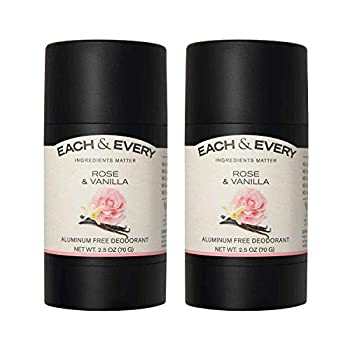 Each & Every 2-Pack Natural Aluminum-Free Deodorant for Sensitive Skin with Essential Oils Plant-Based Packaging Rose & Vanilla 2.5 Oz.