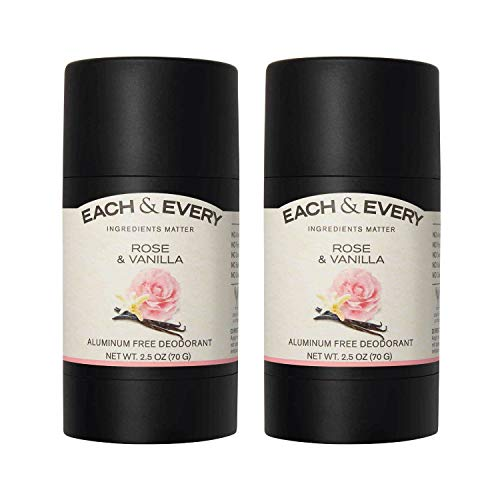 Each & Every 2-Pack Natural Aluminum-Free Deodorant for Sensitive Skin with Essential Oils, Plant-Based Packaging, Rose & Vanilla, 2.5 Oz.