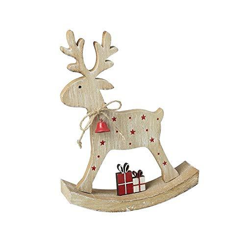 Reno balancín de madera con regalos para decoración del hogar