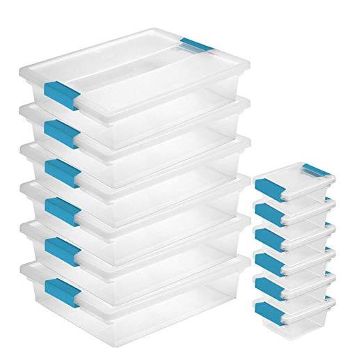 Sterilite Plastic Large Clip Clear (6 Pack) & Mini Clip Storage Box (6 Pack)