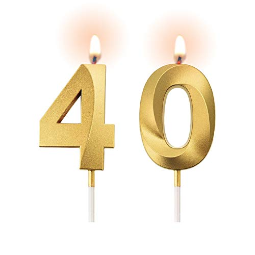 Procest 40th Gold Birthday Candles, Number Candles for Birthday, Gold Candles for Birthday Cakes