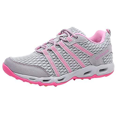 WOZOW Chaussures De Course pour Femmes en Maille Respirante été Sport Femme Running Respirant Baskets Mode Entraînement(Gris,41)