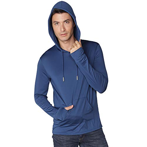 Men's Performance UPF 50+ UV/Sun Protection Hoodie T-Shirt Long Sleeve with Pockets SPF Shirt Runing Hiking Shirt (Navy, Large)