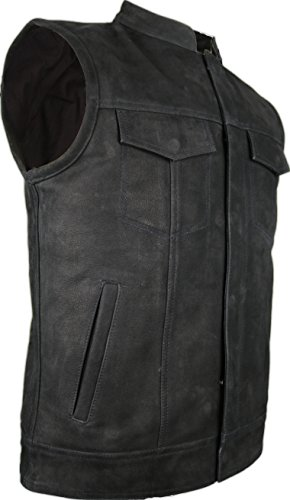 MDM Büffel Biker Lederweste in matt schwarz (XL)