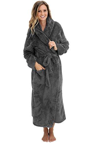 Alexander Del Rossa Women's Plush Fleece Robe with Hood, Long Warm Bathrobe, Small-Medium Steel Gray (A0304STLMD)