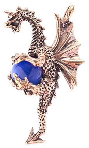Windalf Drachen Schmuck Anhänger Dragon 4.6 cm Glücksdrache mit Blauer Kugel Hochwertige Bronze