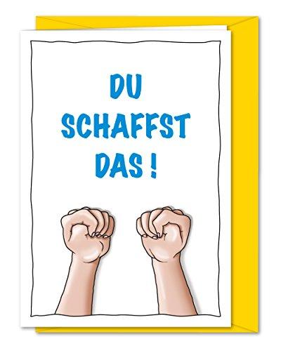 XL Karte DU SCHAFFST DAS - Karte zum Glück wünschen, Daumen drücken, viel Erfolg bei Prüfungen, Abitur, Examen - inklusive Umschlag (DIN A5)