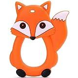 PREMYO Fuchs Beißring für Babys Kühlend - Zahnungshilfe aus Silikon BPA Frei Weich - Lindert Schmerzen beim Zahnen - Orange
