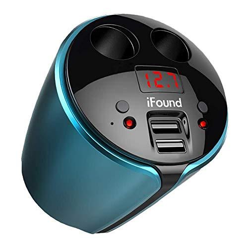 FJW Multi-Fonctionnel Chargeur de Tasse de Voiture Double Port Adaptateur de Voiture USB 120W 3.1A avec Surveillance de Tension LED avec diviseur d'allume-Cigarette à 2 Prises pour Voiture 12V-24V