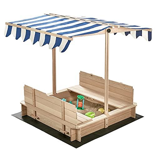 Albott Wooden Sandbox, Kids Covered Sand Box with Detachable Bench Seats & Backrests, Playground Equipment with Adjustable UV-Resistant Canopy for Children, Outdoor, Backyard, Garden, Beach