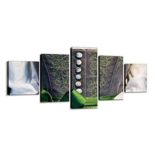 Haersmone Dirndl Premium Leinwandbild Leinwanddrucke Moderne Kunstdruck Gemälde Foto mit Holzrahmen Schlafzimmer Wohnzimmer Büro Dekoration 5 Teilig