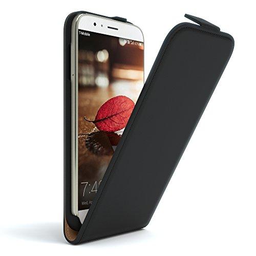 EAZY CASE Hülle kompatibel mit Huawei G8 Flip Cover zum Aufklappen, Handyhülle aufklappbar, Schutzhülle, Flipcover, Flipcase, Flipstyle Hülle vertikal klappbar, aus Kunstleder, Schwarz
