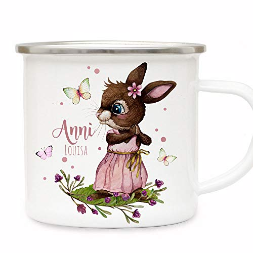 ilka parey wandtattoo-welt Emaille Becher Camping Tasse Motiv Hase Häschen rosa Schmetterlinge & Wunschname Name Kaffeetasse Geschenk eb492 - ausgewählte Farbe: *silberner Becherrand*