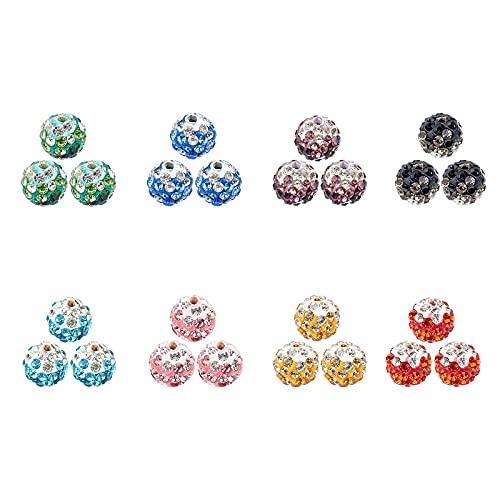 CHGCRAFT 80 Piezas 8 Colores Pavimentar Cuentas de Bola de Discoteca Cuentas de Shamballa de Cristal de Diamantes de Imitación de Arcilla de 10 mm Cuentas de Arcilla Redonda de Bola de Discoteca