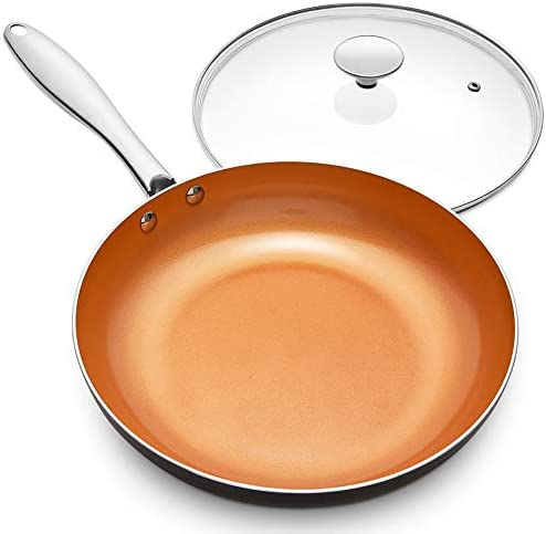 MICHELANGELO 12 Inch Frying Pan with Lid Nonstick Copper Frying Pan with Titanium Ceramic Interior product image