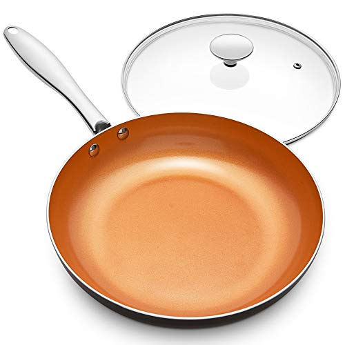 MICHELANGELO 11 Inch Frying Pan with Lid, Copper Frying Pan with Ultra Nonstick Titanium Coating, Nonstick Copper Skillet 11 Inch, Copper Pans, Ceramic Frying Pans, Induction Compatible - 11Inch