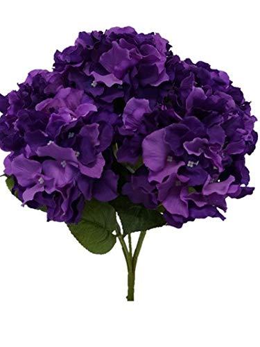 Sweet Home Deco 18' Super Soft Silk Hydrangea Artificial Flower Bouquet (5-stem, 5mop Heads), with No Pot(centerpieces/Wedding Decoration)(Purple)