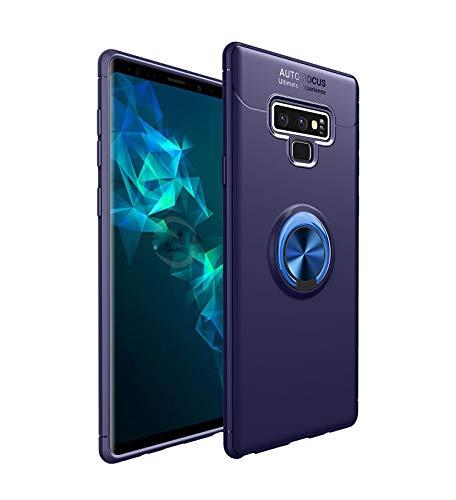 Yobby Weiches Silikon Hülle für Samsung Galaxy Note 9, Ultra Dünn Handyhülle mit 360 Grad Drehbar Ringhalter Ständer Magnetisch Autohalterung Stoßfest Kratzfest Schutzhülle-Navy Blau