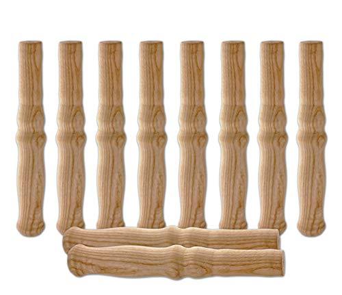 10 XXL Holzgriffe für Schiebkarre/Schubkarre ca. 23,5 cm lang - Hochwertig, flexibel, bereichernd - Ideal für jede Schubkarre/Sackkarre