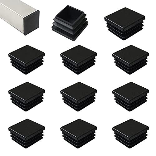 HJYZY 45mm Tappo per Tubo Quadrato Nero Cappucci Terminali Tappi Lamellari per Tubi Quadrati per Tubi di Ferro/Mobili/Trampolino/Sedia 12 pezzi