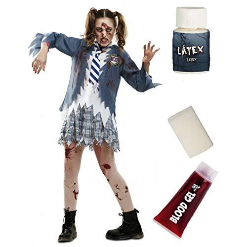 Disfraz de Colegiala Azul Zombie con set de Caracterizacion