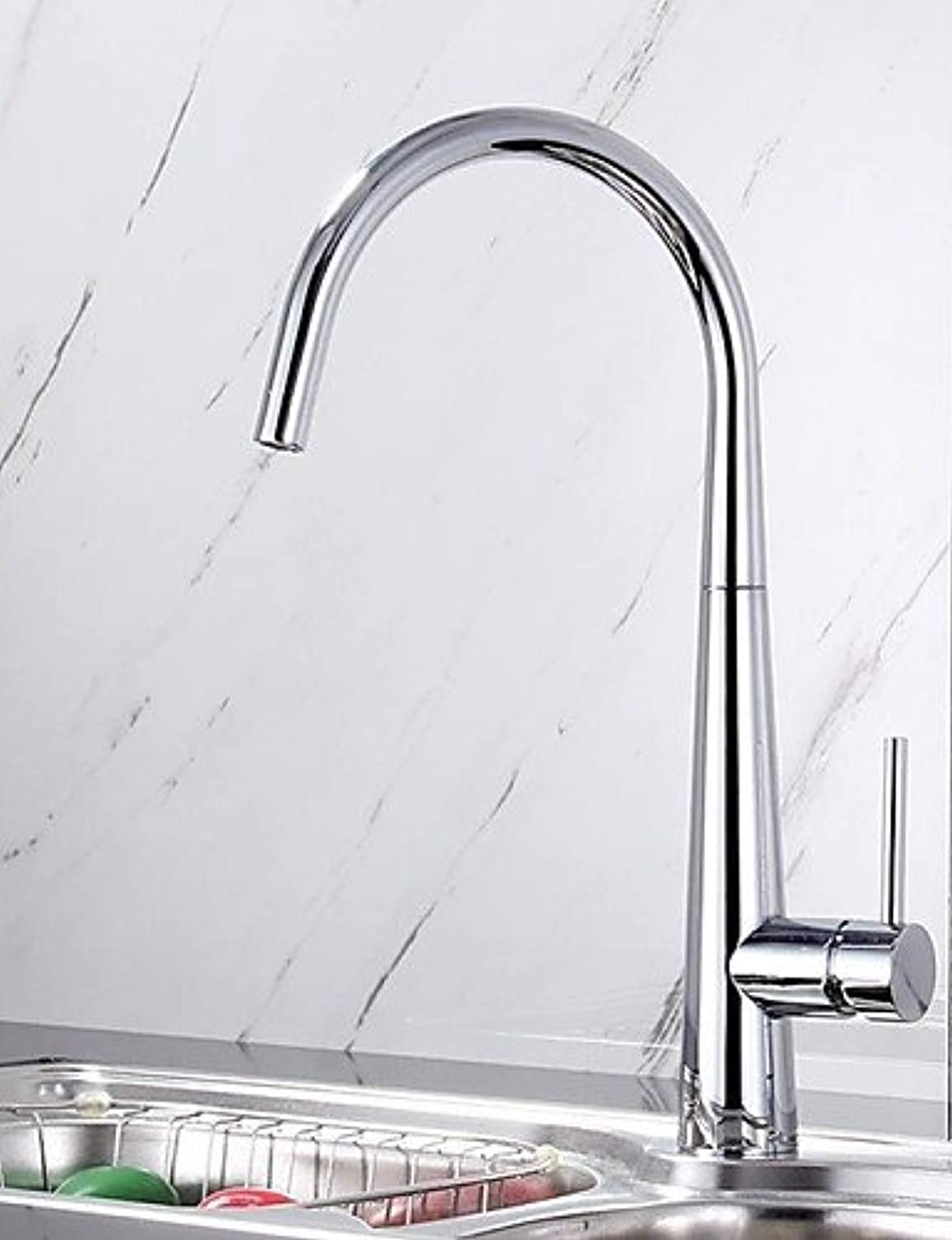 KHSKX Contemporary Chrome Finish Brass One Hole Single Handle Kitchen Faucet