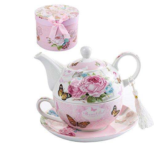 London Boutique - Set da tè per una teiera in porcellana, stile vintage, motivo floreale, rosa, lavanda