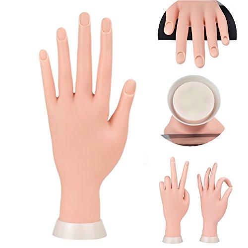 Übungshand für Maniküre und Fingernägel, Modellhand, flexible bewegliche Hand aus weichem Kunststoff für künstliche Nägel, Nailart, Anfänger, Übung (braun)
