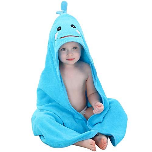 MICHLEY Toalla Baño Bebe 90cm*90cm Algodón Toalla infantil con Divertida Capucha para 0-6 años Niño y Niña Azul
