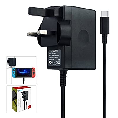 Charger for Nintendo Switch & Lite, AC adapter Compatible with Nintendo Switch - Fast Travel Wall Charger with 5FT USB Type C Cable 15V/2.6A Power Supply, Supports TV Mode and Dock Station