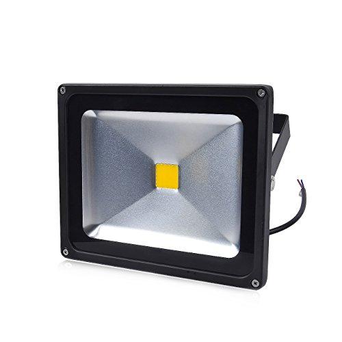Greenmigo 30W Fluter Warmeiß Schwarz Aluminium Gehäuse IP65 Wasserdicht LED Scheinwerfer Wandleuchter Flulicht Flutbeleuchtung LED Gartenlampe Außenstahler