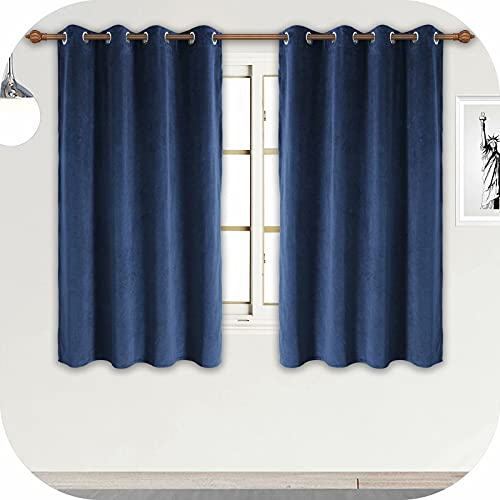 ZHAOFENG Navy Blue Velvet Curtains with Grommet, Blackout SoftLuxury ThickSunlight Dimming Heat InsulatedPrivacy ProtectVelour Drapes for Bedroom and Guest Room, 2 Panels, W52 x L63 Inches